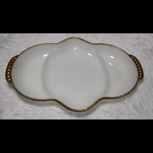 Fire King Serving Milk Glass Gold Trim Dish-#13